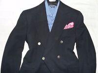 PAUL STUART VTGE Mens Navy Wide Peaked Lapel 6x2 DB 100% Wool Suit Blazer- 42L