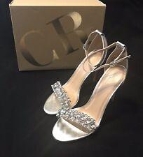 "Charlotte Russe AVA-02 Rhinestone 4"" High Heel Silver Shiny Sandal Sz 8"