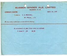 Antique Letterhead Sussex Ginger Ale Limited New Brunswick 1937