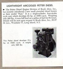 1954 Magazine Photo Petter Diesel Air Cooled Marine Engines Long Island,NY
