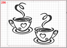I Love Coffee Cups Stencil MYLAR A4 sheet strong reusable Wall Craft Art Deco