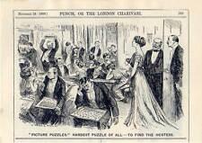 """Puzzle - Hostess - Karikatur aus """"Punch"""" 1909"""