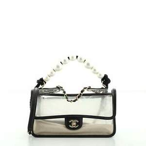 Chanel Sand By The Sea Pearl Flap Bag PVC with Lambskin Medium