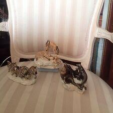 SET OF THREE GUIDO CACCIAPUOTI ANIMAL FIGURINES