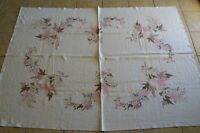 Hand Painted Pink Brown Leaves Table Cloth Vintage Kitchen MCM Home Decor Dining