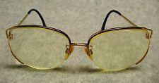 Tura Mod 602 56-16 Womens 3/4 Rim Eyeglasses Gold Multicolor Navy Frames Japan