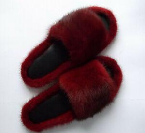 OFFER Mink Fur Wine Red Light Elegant Slippers Sandals Shoes Winter Accessory