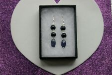 Beautiful Earrings With Sapphire & Sunstone 5.4 Gr. 4.5 Cm. Long + Hooks In Box