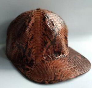 Snakeskin Baseball cap Genuine Python Snakeskin Adjustable Baseball Cap Handmade