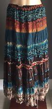 Retro Gem KATIES Multi Colour & Print Tiered Boho Maxi Skirt Size 10
