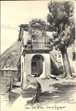Stampa antica ORIA VALSOLDA Casa Antonio Fogazzaro Lago di Lugano 1935 Old print