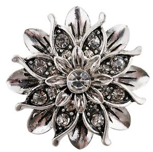 Large Clear Silver Flower 22mm Snap Charm Button Jewelry For Ginger Snaps