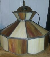 "16"" Vintage Tiffany Style Hanging Light Lamp Shade Stained Glass Ceiling Fixture"
