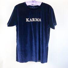 STRADIVARIUS  KARMA Velvet Blue Size Small T-Shirt Tee