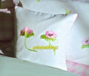 Yves Delorme Lolarose Embroidery Floral Decorative Pillow Cover 100% Linen NEW