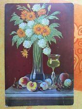 NR. 798 / Alte Glückwunschkarte Stillleben Blumen gelaufen 1914
