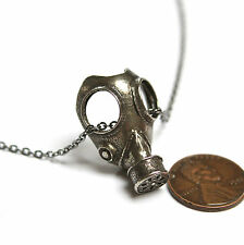 Gas Mask Pendant Necklace in White Bronze Steampunk Apocalypse Doctor Who