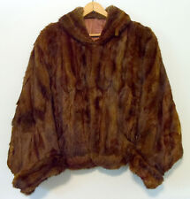 Vintage Mink Real Fur Cape Shawl Coat Size S/M Chocolate Brown w/ Pockets