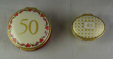 Pair Of Personalized Halcyon Days Enamel Trinket Boxes 45 & 50 Year Anniversary