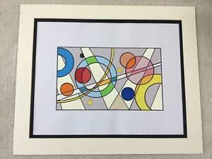Geometric Abstract Painting Original Art Retro Pop Art Style
