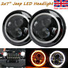 """PAIR 7"""" LED  HALO ANGEL EYE HEADLIGHTS E MARKED  FOR 110 90 LAND ROVER DEFENDER"""