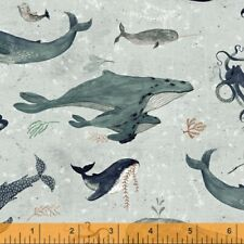 WHALE TALES Windham Cotton Quilt Fabric Seahorses, Fins, Scales, Waves, Grey