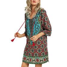 Women Bohemian Neck Tie Vintage Floral Printed Ethnic Style Summer Shift Dress #2 4xl