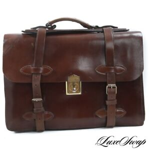 MASSIVE Anonymous Heavyweight Brown Unlined Leather Lawyers Atache Briefcase NR