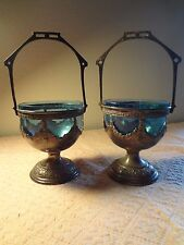 ANTIQUE  PAIR OF PEWTER CANDY DISH WITH GLASS INSERT
