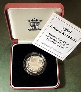 1995 'Dove Of Peace' Sterling Silver Proof 'Piedfort' UK £2, Two Pound, Coin.