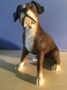 Leonardo Brindled Sitting Boxer Dog Figure Ornament.