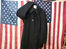 FOX KNAPP NAVY PEA COAT PEACOAT 36 TALL USA MADE NOS  OLD STOCK ANCHOR BUTTONS