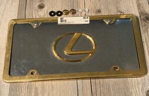Lexus Chrome Gold Full Plate Lexus L Gold Emblem Hardware Included