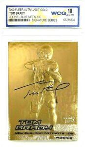 Tom Brady 2000 Fleer Blu Metallico Autografato Gemmint 10 23KT Oro Rookie Card