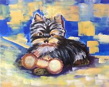 Chien Yokshire peinture sur toile anonyme animalier Chevaux