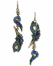 Betsey Johnson STATEMENT CRITTERS Peacock Gold-Tone Multi-Stone Drop Earrings