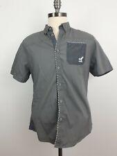 KANGOL Large Grey short sleeve button up 100% cotton Mens Shirt