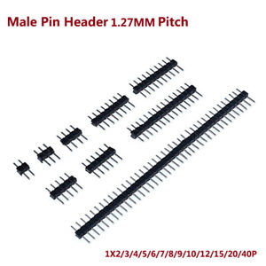Male Pin Header 1.27mm Pitch 1X2/3/4/5/6/7/8/9/10/12/15-40P Connector Single Row