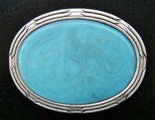 Turquoise Light Blue Antique Silver Belt Buckle Boucle de Ceinture