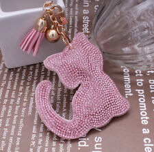 Fashion 800+ Crystals Rhinestones Pink Cute Cat For Women Keyring Handbag Bag