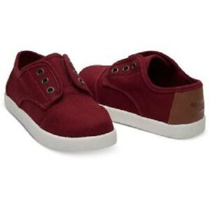 New Toms Tiny Paseo Burgundy Canvas Baby Boy/Girl Unisex Sneaker Shoes  4