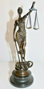 "Bronze Skulptur / Figur ,""Justitia"", signiert Mayer, Höhe 24cm, 0,7Kilo /*709"