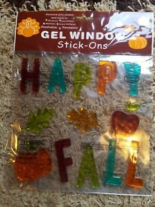 Happy Fall Thanksgiving Window Gel Clings - resusable - NEW