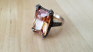 STERLING SILVER 925 RING, Size 7, CRYSTAL-ORANGE, 8.4 grams