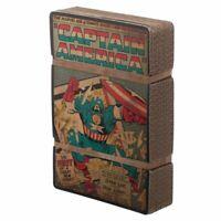 Captain America Marvel Comic Book Cover Men's Blue Vintage Boxed Cotton T-Shirt