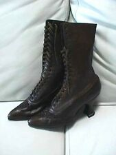 Antique Brown Leather Women's Victorian Boots Beaded Toe Lace-up Dress Boots Exc