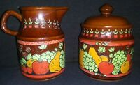 Vintage Made in Japan Marked Ceramic Sugar & Creamer Brown With Fruit Motif