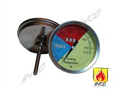 """HYCO 3"""" 475F (2-pack) BBQ CHARCOAL GRILL PIT WOOD SMOKER TEMP GAUGE THERMOMETER"""
