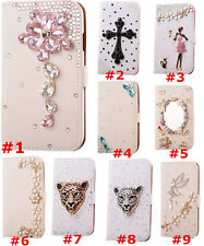 Bling Crystal Diamonds flowers PU leather flip wallet case cover For Samsung #7