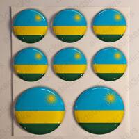 Pegatinas Ruanda Pegatina Bandera Ruanda Redondas 3D Vinilo Adhesivo Relieve